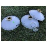 Enamel Metal Light Shades And A Glass Shade