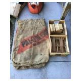 5 Burlap Sacks And Wood Crate And Baskets
