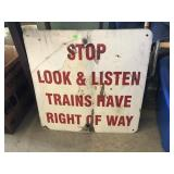 Stop, Look & Listen Metal Train Sign 24x24