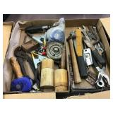 Tools including wrenches hammer, stapler, Two