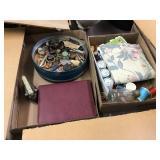 Sewing thread, flat iron, manicure set, keys, Two