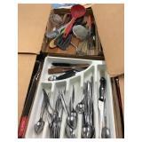 Flatware, kitchen utensils, two flats