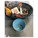 Waste bin, wicker basket, saw, chopper, pillow,