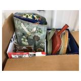 Gift bags, vacuum bags, dust pans, clock, Two box