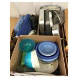Plastic dishes, Melmac  bowls, baking pans,