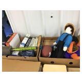 Puzzles, fly sprayer, football, Amish dolls,