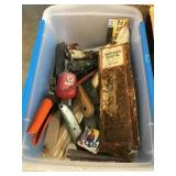 Tote of clippers, scrapers, rusted Woody