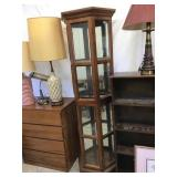 Curio cabinet, lighted, 72 x 10 x 22