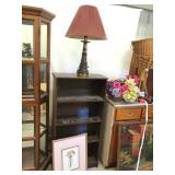 Bookshelf 48 x 23 x 9 1/2, floral picture 17 x 21