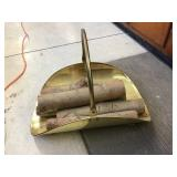 Brass fireplace log tote
