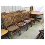 Oak pedestal table and two leaves 48 x 30 and