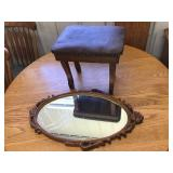 Footstool 13 X 14 x 11 and mirror 26 x 15
