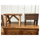 Foot stool 12 x 19 x 15 and shoeshine cabinet 30