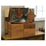 Wooden toy box 27 x 14 x 15 and fox clock