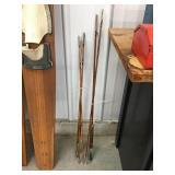 Bamboo fishing poles one J C Higgins