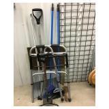 Cane, Walker, brooms, snow shovel, TV tray