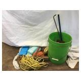 Bucket, trowells , ice packs, ski line