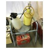 Two sprayers, bedside commode, Strohs cans