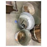Three galvanized buckets