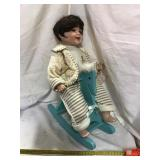 Doll 17 Inch On Wooden Rocking Horse