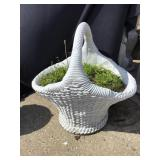 Cement Basket Planter, 27 X 21 X 28