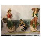 Chalk Ware Figures And Two Plaques