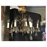 Hanging Light Fixture With Prisms, Brass, 22 X 16