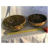 Two Sponge Ware Bowls, 9 1/2 And 8 1/2