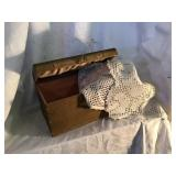 Wooden Chest 9 1/2 X 6 X 6 With Doilies