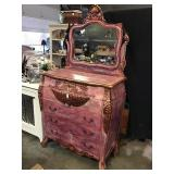 Tall Dresser With Mirror, Carved, Painted, 78 X