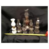 Six Mini Oil Lamps, One With A Broken Shade
