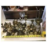 Large Assortment Of Brass Figurines And Candle
