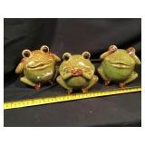 Three Ceramic Frogs