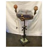 Lighted Fishbowl On Stand, With Marble