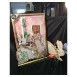 Floral Picture And Two Decorative Wooden Rabbits