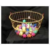 Egg Basket With Plastic Easter Eggs