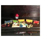 Wooden Train, Girl Scout Pins, Badges