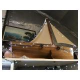 Small scale boat, wooden, 6 ft 6 in front to back