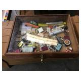 Display case 22 x 16 1/2 x 4 and contents of