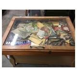 Display case 36 x 26 x 4 1/2 with contents of