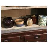 Six crocs including bean pots some with lids, mug