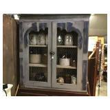 Upper cabinet with chicken wire doors, wooden