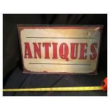 Antiques tin sign, 16 x 10 1/2
