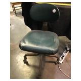 Leather green office chair on casters by royal