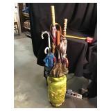 Umbrella stand and assortment of umbrellas