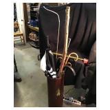 Metal umbrella stand and umbrellas, Walkingstick,