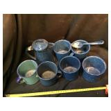 Enamelware including small coffee pot and six