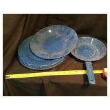 Enamelware plates and skillet