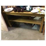 Painted wood shelf, 45 1/2 x 15 x 27
