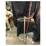 Walking stick, tree branch cane, camping shovel